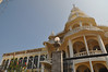 The Primera Iglesia Bautista Protestant church dominates the skyline of San Pedro La Laguna