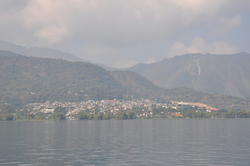 The boat is approaching San Pedro La Laguna at the western end of Lake Atitlan
