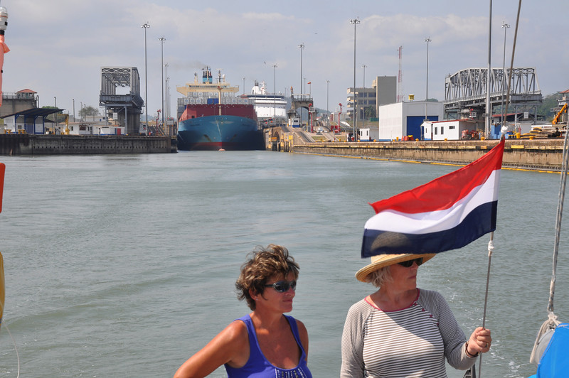 Phyllis Macay & Sheila Goodall having just passed through the final lock on the Panama Canal on our way to pass under the Bridge of the Americas