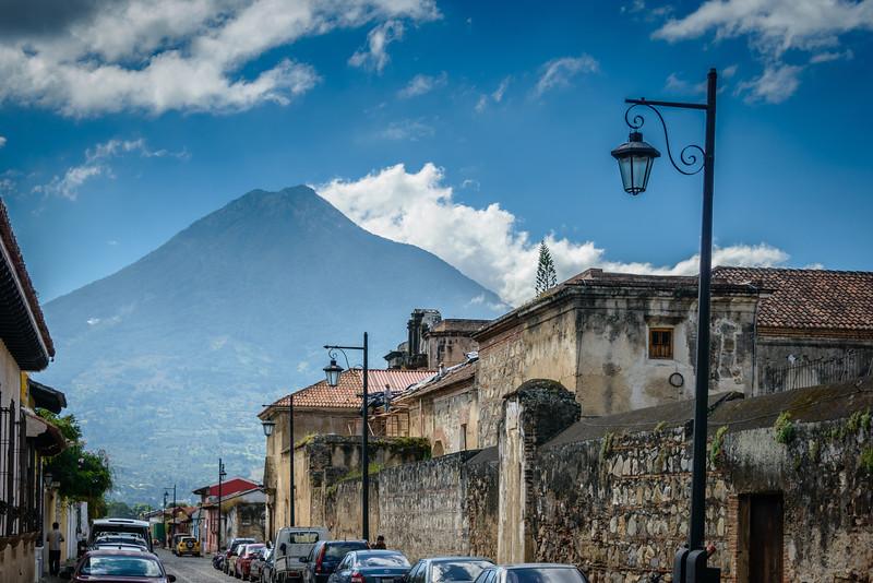 View of Volcano Aqua from Antigua Street.
