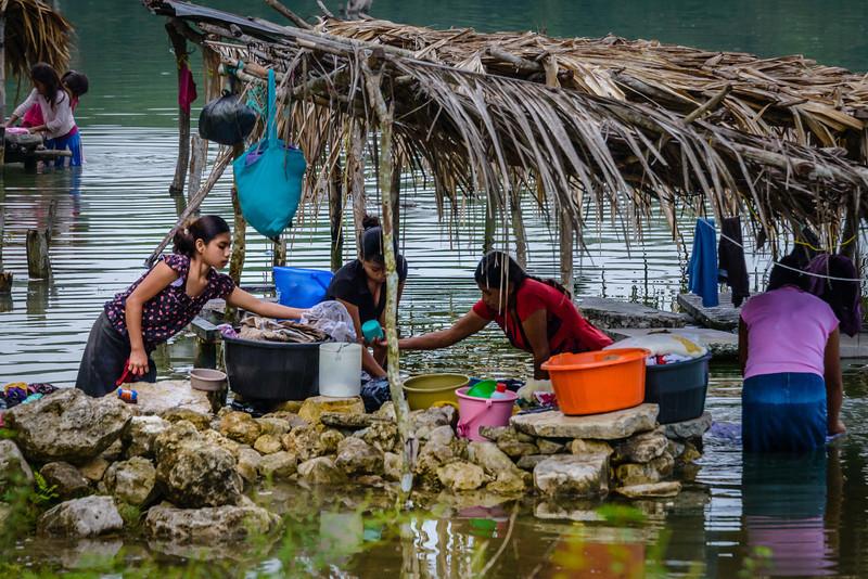 Ladies Washing Clothes in Lake - Guatemala