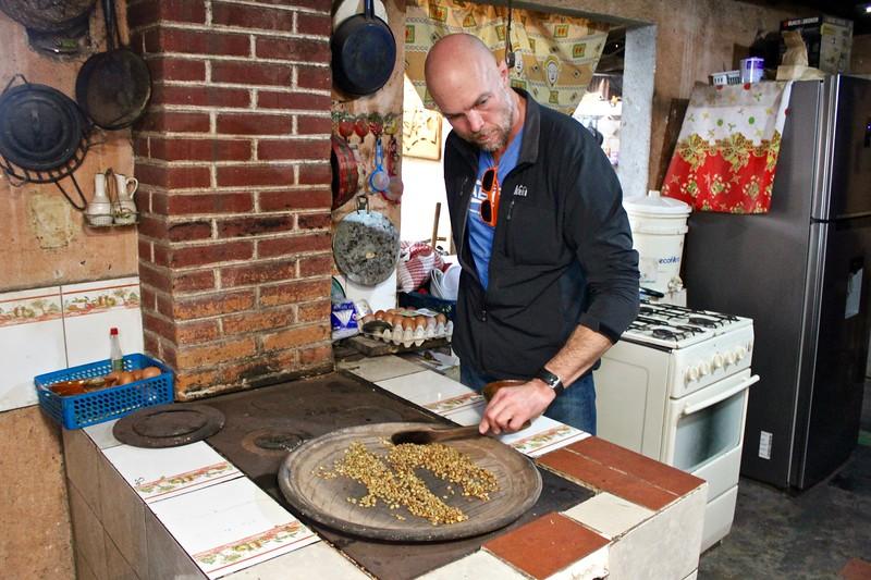 Ryan Stimmel roasting coffee beans