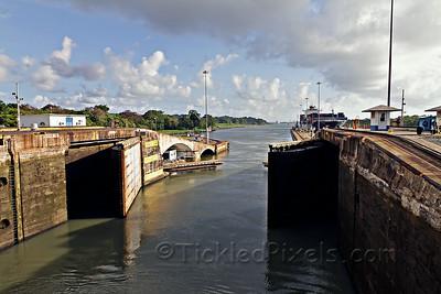 Gates of the Gatun Locks Closing