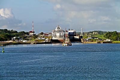 "Cruise Ship 'Sea Princess"" and Car Carrier 'Auriga Leader' in Gatun Locks"