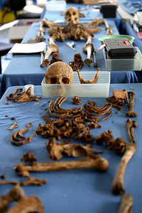 "Guatemala. Human remains recently exhumed from a mass grave in the Quiche region of Guatemala where thousands were killed and ""disappeared"" during the war.  (Panetta)"