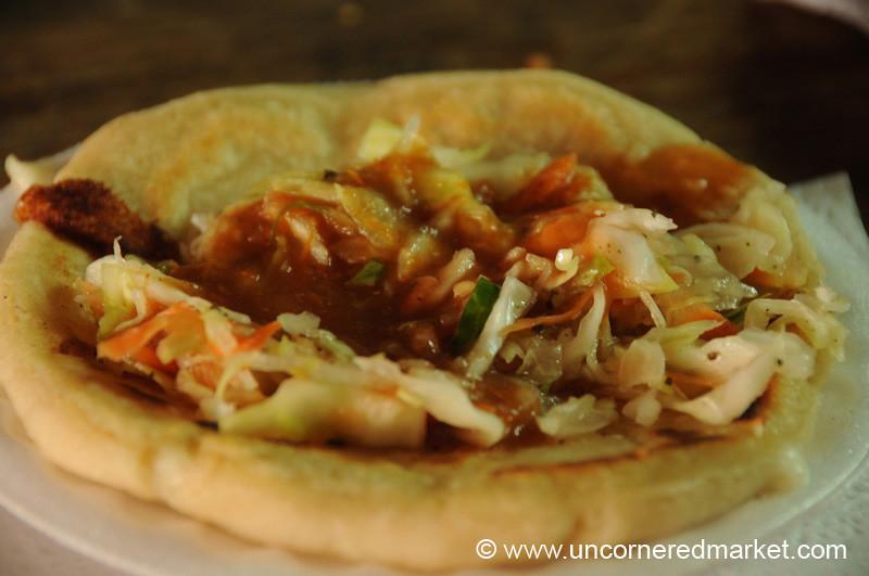 Guatemalan Food, Cheese-Stuffed Pupusa - Antigua, Guatemala