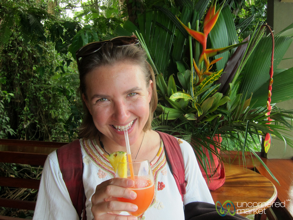 Audrey Enjoys Welcome Drink at Evergreen Lodge - Tortuguero, Costa Rica