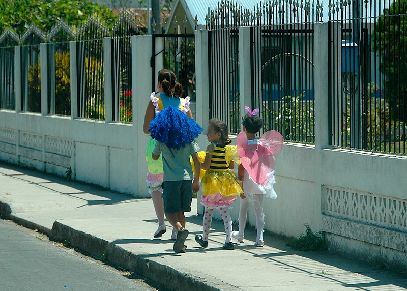 It being early April, we weren't prepared for any celebrations, but these children thought it was a great day for putting on costumes.  We agreed.