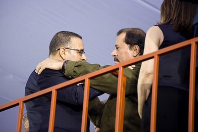 President Funes greets Nicaraguan President Daniel Ortega.
