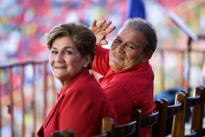 Vice President Salvador Sanchez Ceren (Commander Leonel González) and his wife Margarita