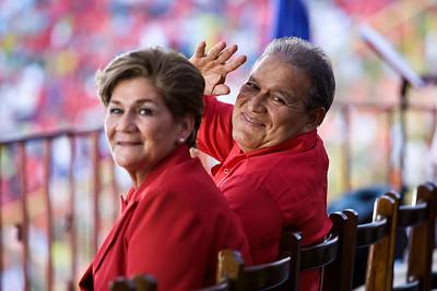 Vice President Salvador Sanchez Ceren (Commander Leonel González) and his wife Margarita