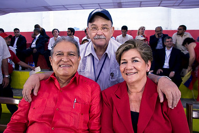 Fr. Miguel D'Escoto (President of the 63rd session of the United Nations General Assembly) with Vice President Salvador Sanchez Ceren (Commander Leonel González) and his wife Margarita.