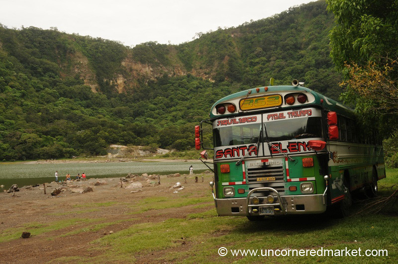 Green Chicken Bus at Laguna Alegria - El Salvador