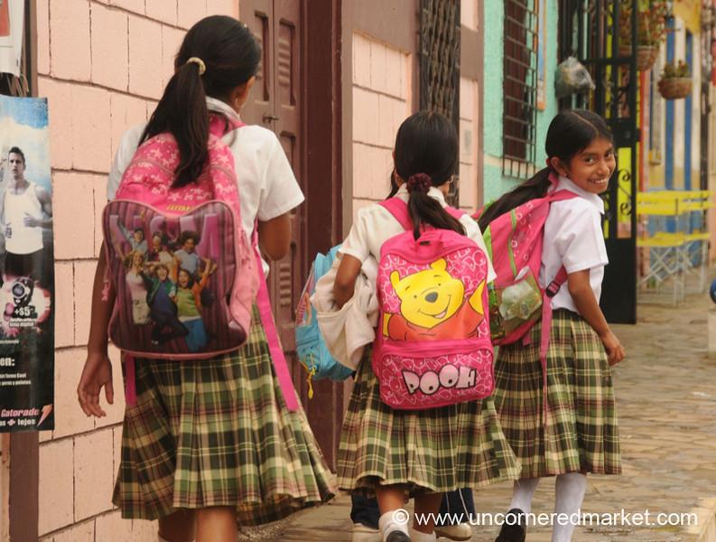 School Girls Carrying Bags - Ataco, El Salvador