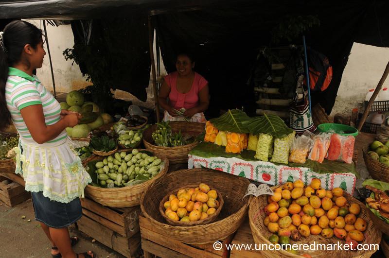 Woman Buying Fruit - Juayua, El Salvador