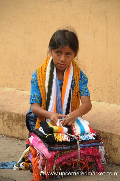 Girl Selling Colorful Scarves - Juayua, El Salvador