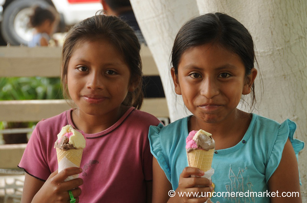 Happy Girls With Ice Cream - Juayua, El Salvador
