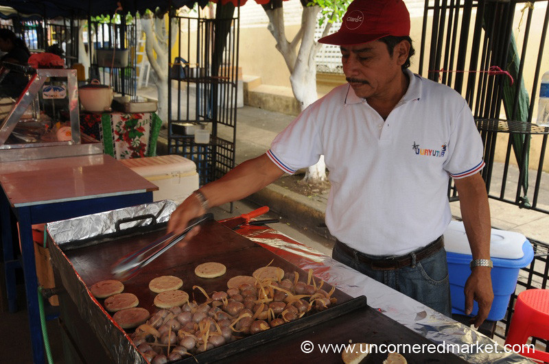 Man Cooking at the Weekend Food Festival - Juayua, El Salvador