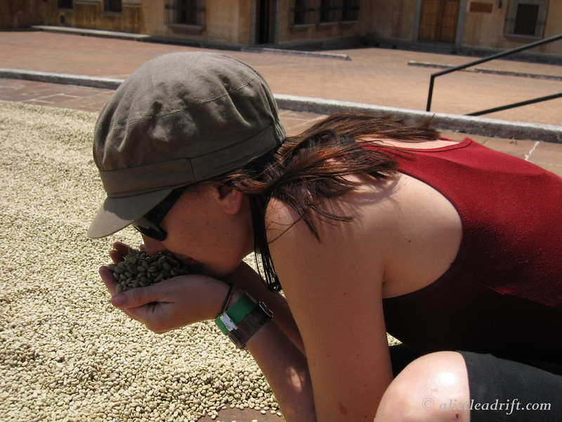 breathing deep of the coffee beans in Antigua Guatemala