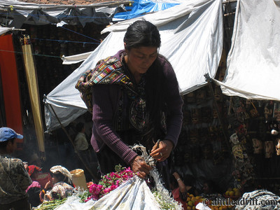 Guatemalan Vendor Preps for the Day