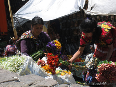 Guatemalan Women Selling Flowers