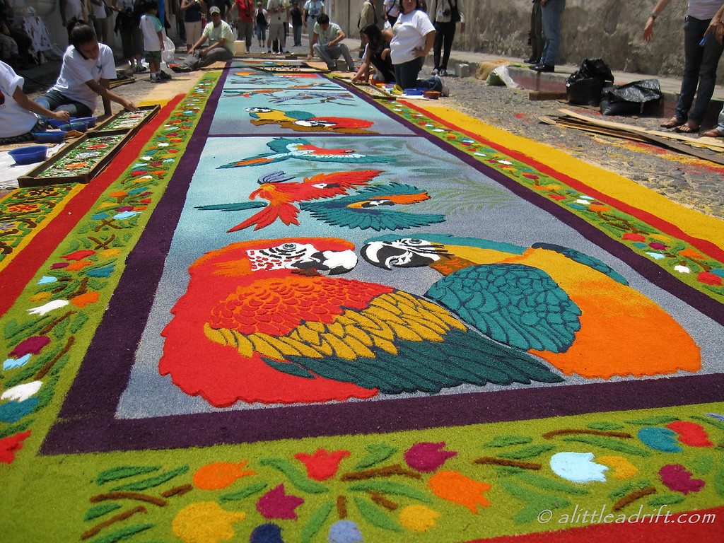 elaborate Semana Santa carpet in Antigua Guatemala