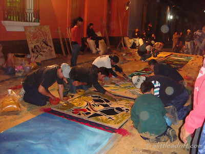 Team Work on the Semana Santa Carpets