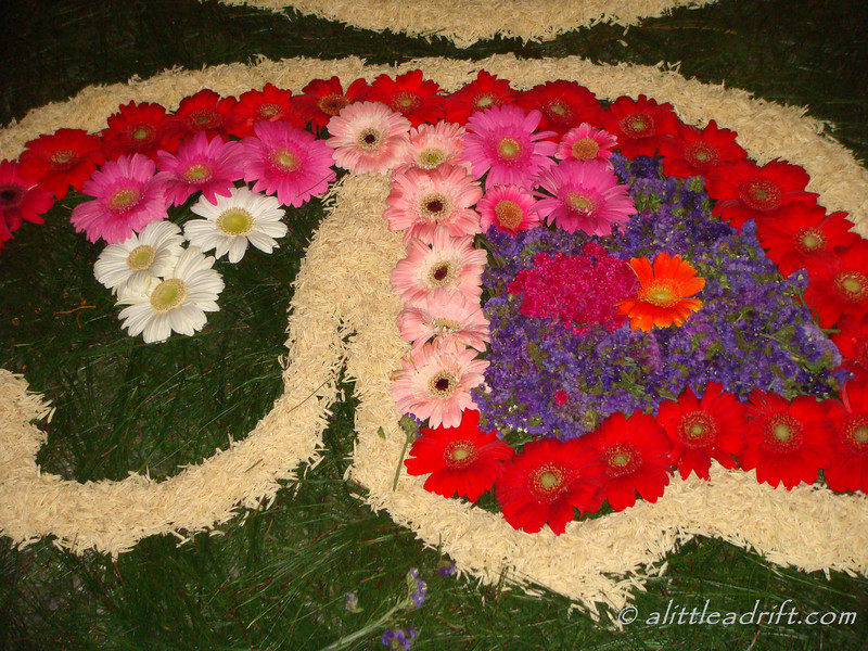 A flower alfombra in progress