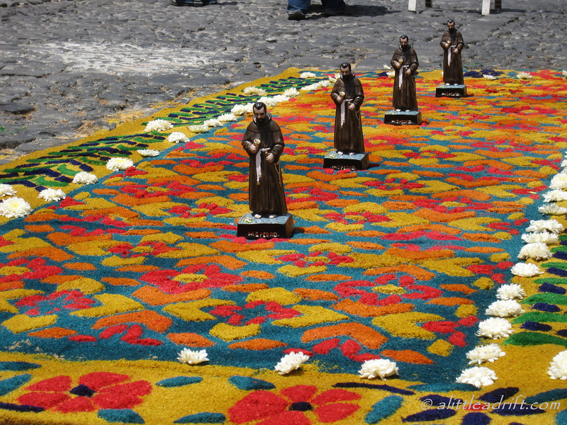 An elaborate Semana Santa carpet