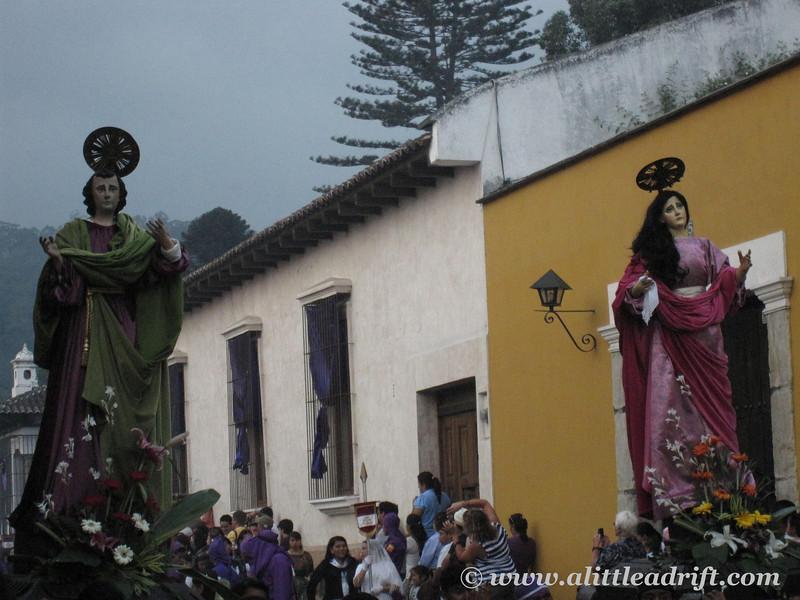 Parade floatsduring Semana Santa processions