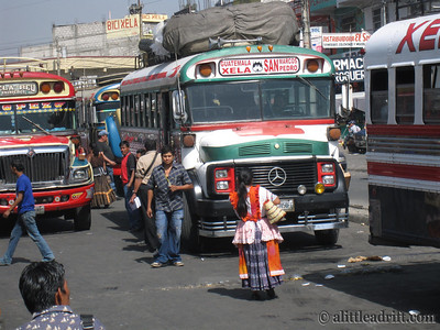 Chicken Buses Station in Xela