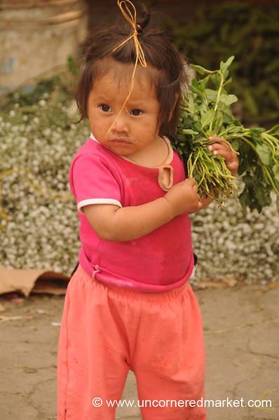 Girl Carrying Vegetables - Antigua, Guatemala