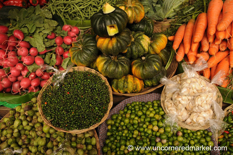Baskets of Vegetables at Antigua Market, Guatemala