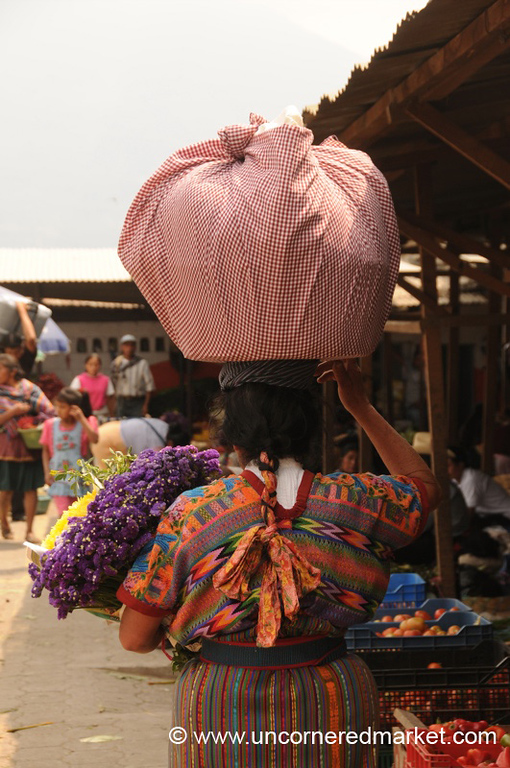 Indigenous Woman with Bundle on Head - Antigua, Guatemala