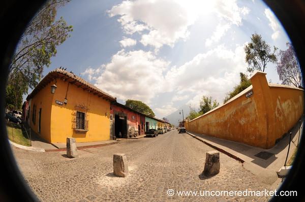 Antigua Street Scene, Fisheye - Guatemala