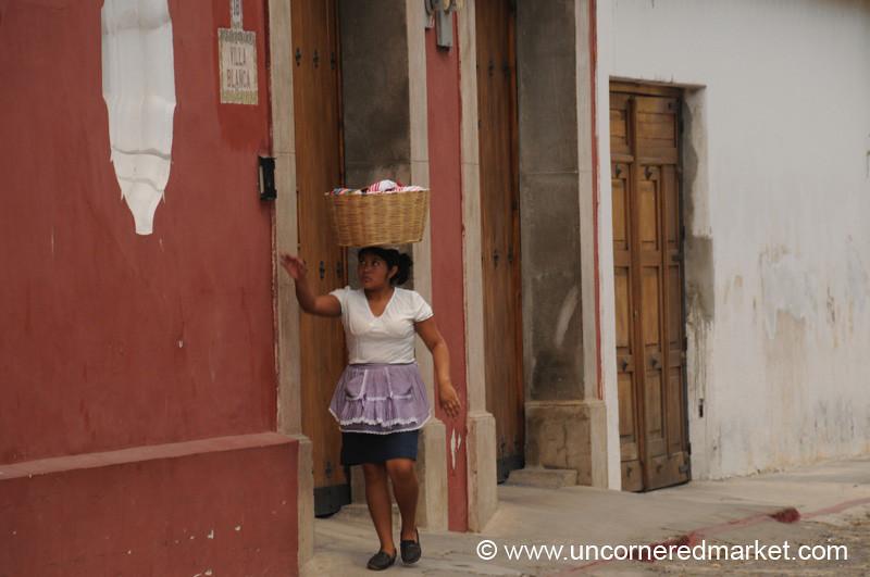 Woman With Basket on Head - Antigua, Guatemala