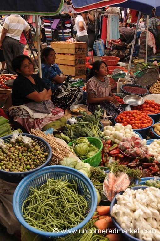 Women and Vegetables at Antigua Market, Guatemala