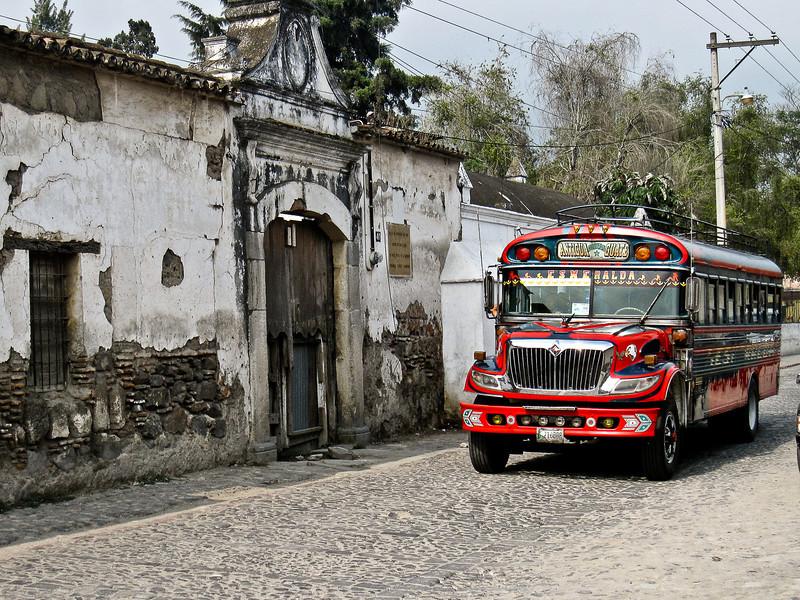 A chicken bus in Antigua, Guatemala