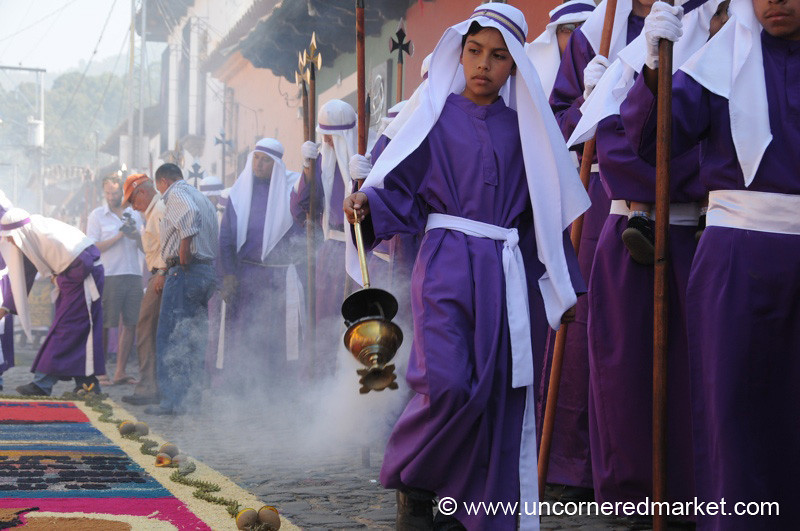Boy Carrying Incense, Semana Santa - Antigua, Guatemala