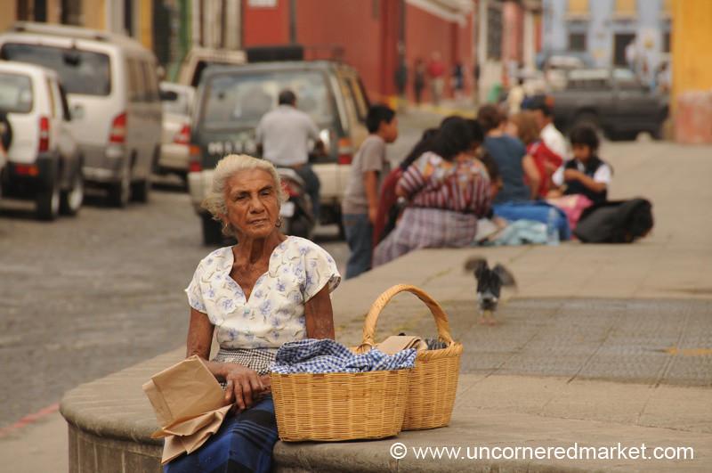 Guatemalan Woman Waiting for Bus - Antigua, Guatemala