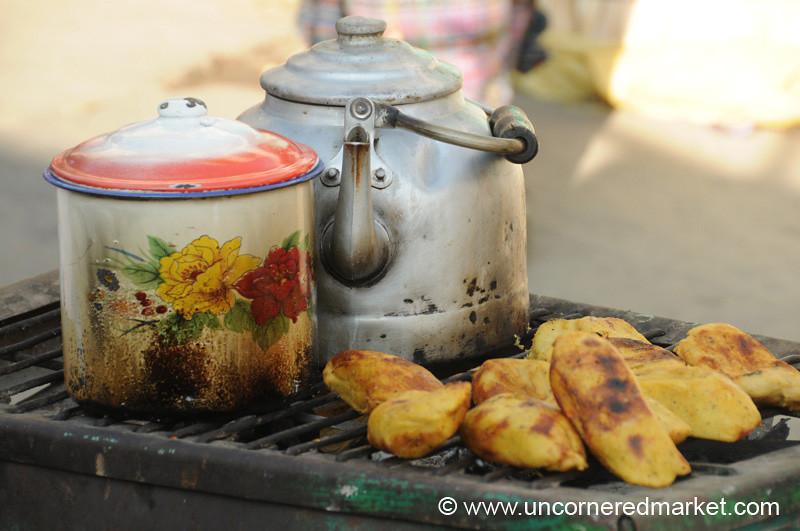 Guatemalan Food, Grilled Chuchitos - San Francisco El Alto, Guatemala