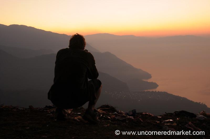 Looking at the Sun Rise Over Lake Atitlan, Guatemala