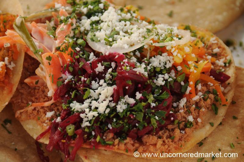 Guatemalan Food, Mixture of Tostada Toppings - Xela, Guatemala