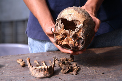 Skeletal remains from an exhumed mass grave.  Guatemala/Panetta