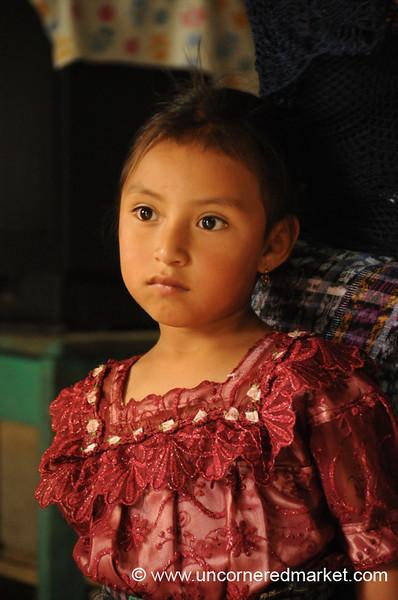 Indigenous Guatemalan Girl, Beautiful Eyes - San Pedro Sacatepequez, Guatemala