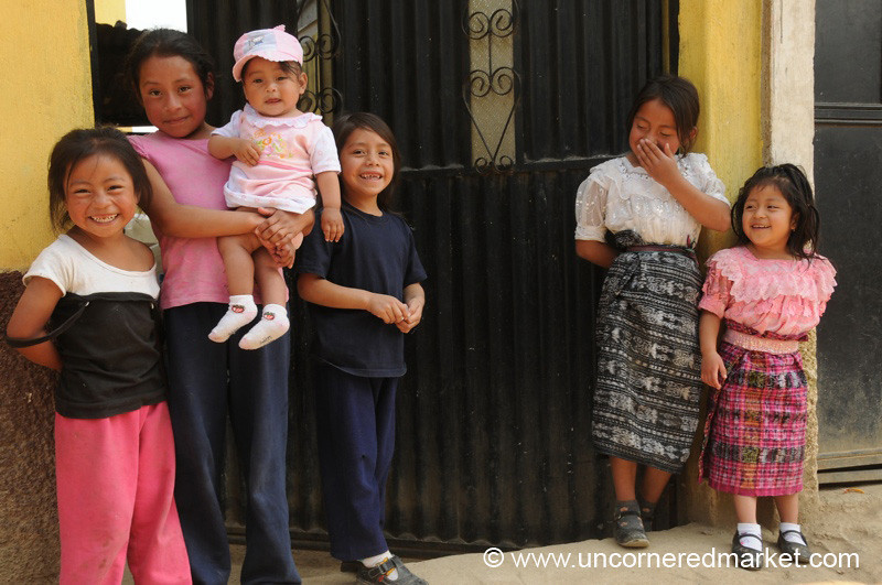 Guatemalan Girls at the Gate - San Pedro Sacatepequez, Guatemala