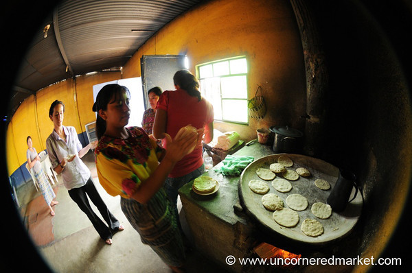 Making Tortillas, Fisheye - San Martin Jilotepeque, Guatemala