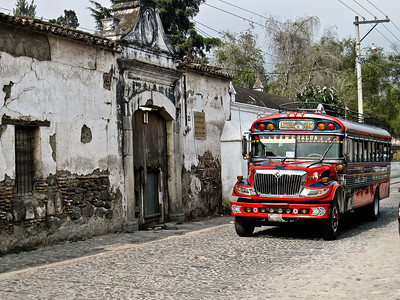 A chicken bus in Antigua, Guatemala