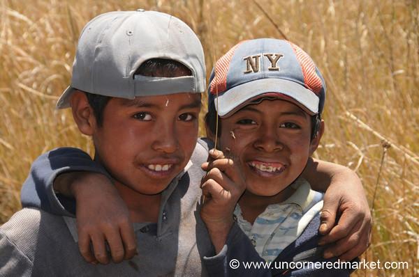 Guatemalan Boys, Baseball Caps - Lake Atitlan, Guatemala
