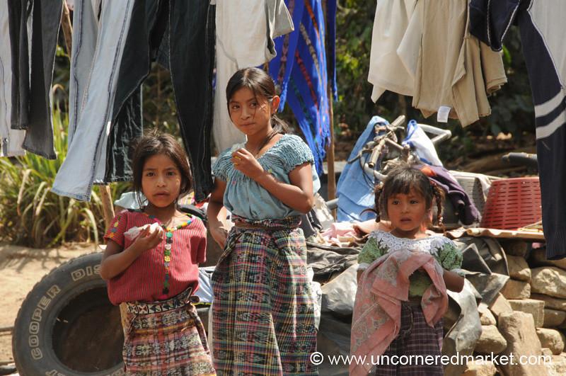 Guatemalan Girls Looking On - Lake Atitlan, Guatemala